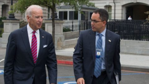 Vice President Joe Biden talks with Don Graves as he walks across West Executive Avenue at the White House, Sept. 29, 2014. (Official White House Photo by David Lienemann)